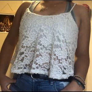 Tops - white lace crop top